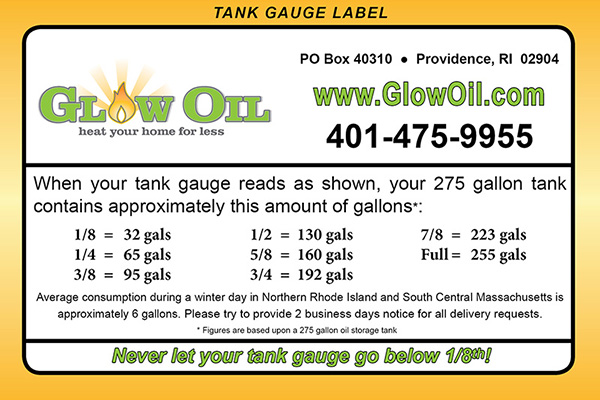 Reading your tank gauge label with Glow Oil